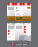 Fold Brochure background template 0004. Red shop concept Fold brochure template light illustration Vector Illustration