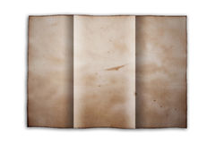 Fold old paper. As white isolate background Stock Images