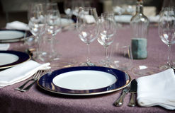Fold round table with  napkins Stock Photos