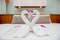 Fold Towel Swan Royalty Free Stock Photos