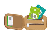 Foldable Brown Wallet with money. Editable Clip Art. Royalty Free Stock Image