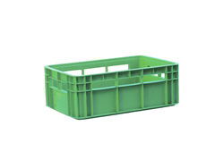 Foldable green  plastic storage box on a white background Royalty Free Stock Images