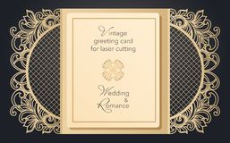 Foldable kartki z pozdrowieniami brama dla laserowego rozcięcia Delikatny wzór dla ślubu, romantyczny przyjęcie Rzeźbiący projekt royalty ilustracja