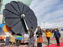 Foldable solar panel sunflower shaped on display stock image