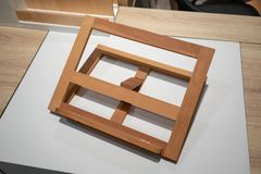 Foldable wooden easels or painting art boards. Foldable wood easels or painting art boards in modern design on white table Royalty Free Stock Photo