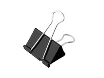 Foldback bulldog clip. Single fold back bulldog clip isolated on white background Royalty Free Stock Photo