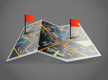 Folded abstract dark city map Stock Photo