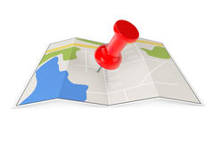 Folded Abstract Navigation Map with Pin Royalty Free Stock Photos