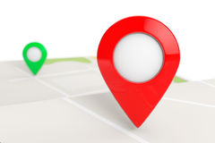 Folded Abstract Navigation Map with Target Pin Royalty Free Stock Photo