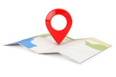 Folded Abstract Navigation Map with Target Pin. On a white background Royalty Free Stock Photos