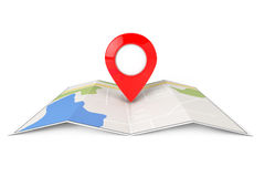 Folded Abstract Navigation Map with Target Pin. On a white background Stock Photography