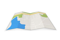 Folded Abstract Navigation Map Stock Images