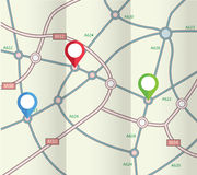 Folded abstract road map with markers Royalty Free Stock Image