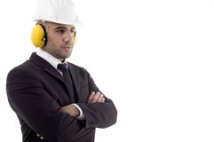 Folded arm engineer wearing earplugs Stock Images