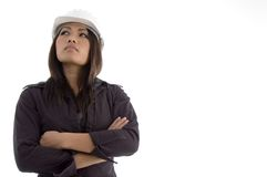 Folded arms female architect Royalty Free Stock Photography