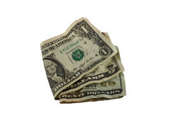 Folded bills. One, five and twenty dollar bills folded Royalty Free Stock Photography