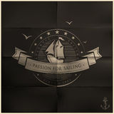 Folded Black Sailing Badge Royalty Free Stock Photos