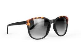 Folded Black Sunglasses Isolated on White Background.  Stock Images