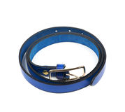Folded blue leather belt isolated Stock Photography