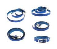 Folded blue leather belt isolated Stock Images