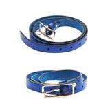 Folded blue leather belt isolated Royalty Free Stock Photography