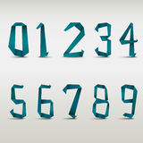 Folded blue paper numbers template Royalty Free Stock Photography