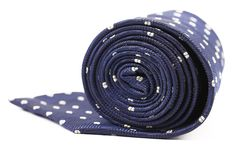Folded blue tie with white speck. Stock Image