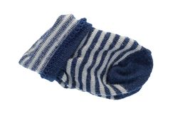 Folded blue and white striped baby socks Royalty Free Stock Photography