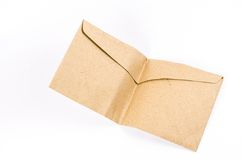 Folded brown envelope on white background Stock Image