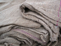 Folded Burlap Sacks Royalty Free Stock Images