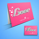 Folded card for Happy Valentines Day celebration. Royalty Free Stock Images