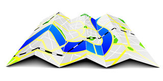 Folded city map Stock Images