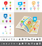 Folded City map with GPS Pin Icons and markers. A folded map of an imaginary city with icons and pin template Royalty Free Stock Image