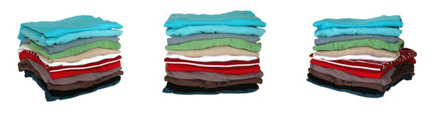 Folded clothes. Different angles of folded laundry Stock Image