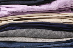 Folded clothes, for backgrounds or textures Stock Photos