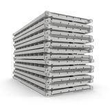 Folded Collapsible ISO Containers Stack isolated on white. 3D illustration Stock Photo