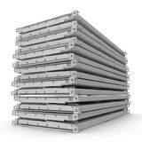 Folded Collapsible ISO Containers Stack isolated on white. 3D illustration Stock Image