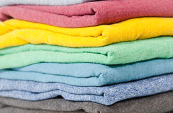 Folded colored shirts Royalty Free Stock Image