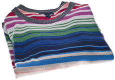 Folded Colorful Striped Sweater Royalty Free Stock Image