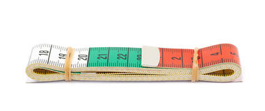 Folded dieting tape measure isolated Royalty Free Stock Images