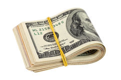 Folded dollar bills Royalty Free Stock Images