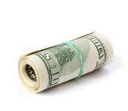 Folded dollars. Folded 100 american dollars on white Royalty Free Stock Photography