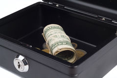 Folded dollars in cash desk Stock Image