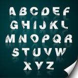Folded Edge Paper Alphabet. Vector folded edge paper alphabet with reflection Royalty Free Stock Image