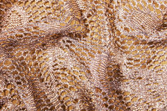 Folded Elegant Golden Lacy Background Stock Images