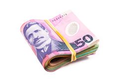 Folded fifty dollar bills Stock Images