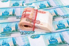 Folded five thousandths banknotes of russian roubles stock photography