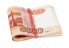 Folded five thousandths rouble bills Royalty Free Stock Photography