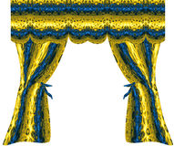 Folded gold and blue curtains with abstract pattern of geometric motifs. Yellow, blue and black drapery with velvet shining structure Royalty Free Stock Photos