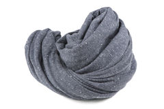 Folded Gray Neck Scarf Isolated on White Background. A folded gray cotton neck scarf isolated on a white background Royalty Free Stock Photo